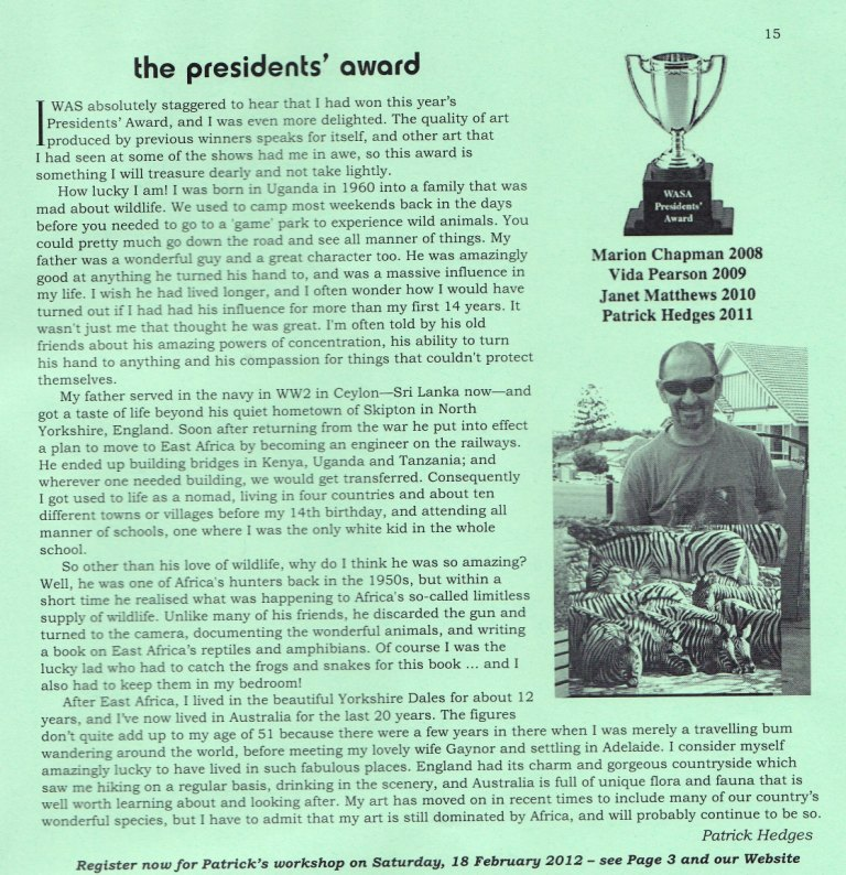 2011 President's Award Wildlife Art Society of Australasia